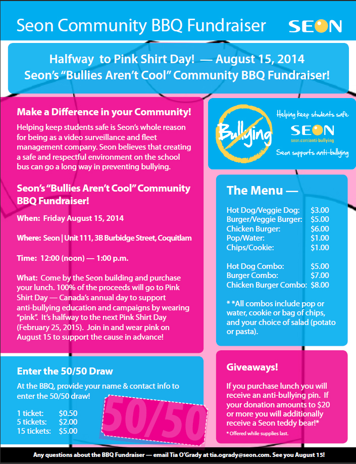 Halfway to Pink Shirt Day Community BBQ Flyer | Menu Items