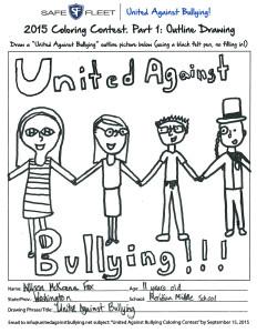 United Against Bullying Coloring Contest Winner Allison McKenna Fox